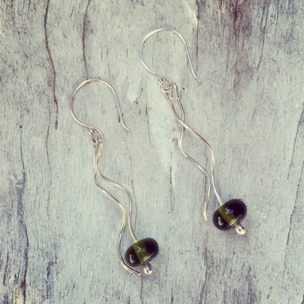 Recycled glass earrings, beads made from a Bethany Wine bottle