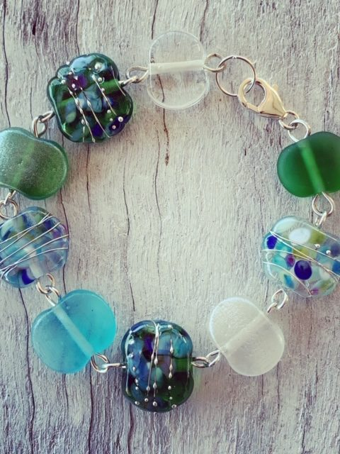 Gin and Tonic recycled glass bead bracelet