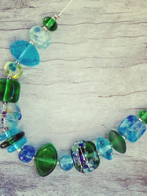 Bombay Sapphire and Tanqueray Gin - recycled glass necklace