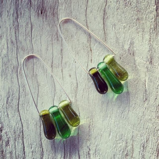 Green wine bottle earrings