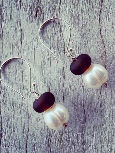 Hendricks Gin and Pearl Earrings