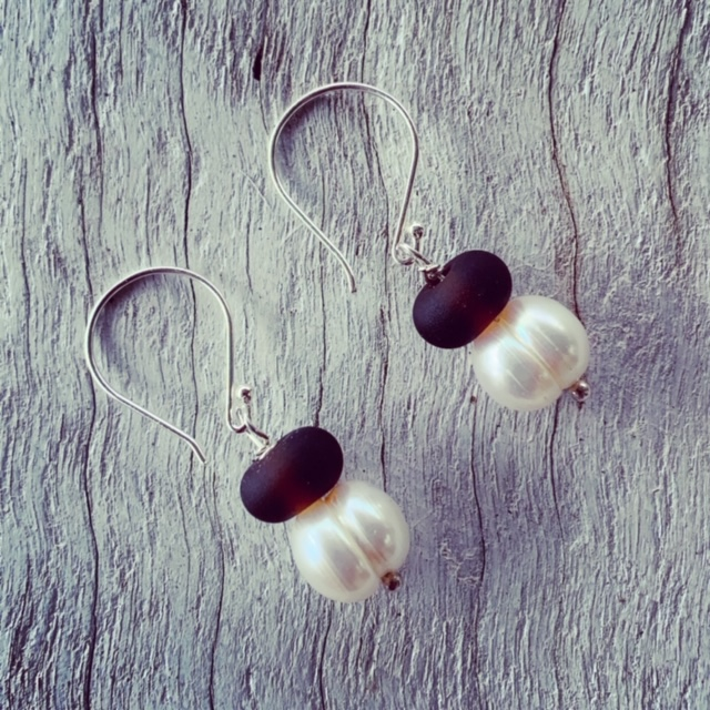 Hendricks Gin and Pearl Earrings