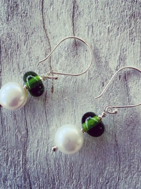 Moet Champagne and Pearl Earrings
