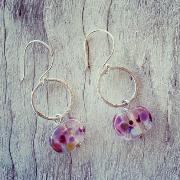 Recycled sterling silver and recycled glass earrings