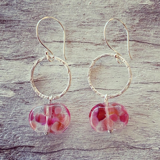 Hot pink recycled glass bead earrings, made from a wine bottle