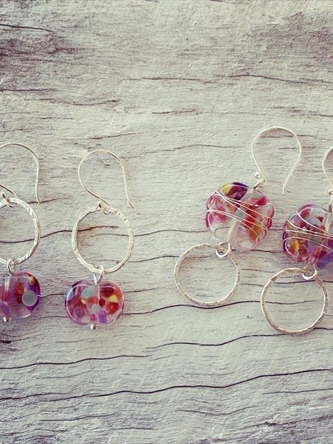 Delicious recycled glass earrings made from a wine bottle