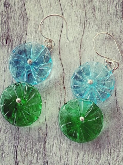 Bombay Sapphire and Tanqueray Gin bottle earrings