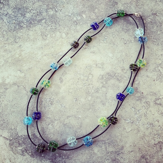 Blue and Green recycled glass long necklace