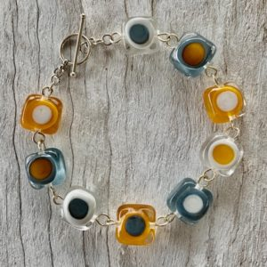 Mustard and Grey glass bracelet