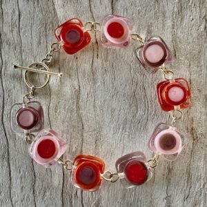 pink purple and coral glass bead bracelet