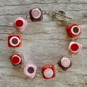 pink purple coral glass bead bracelet