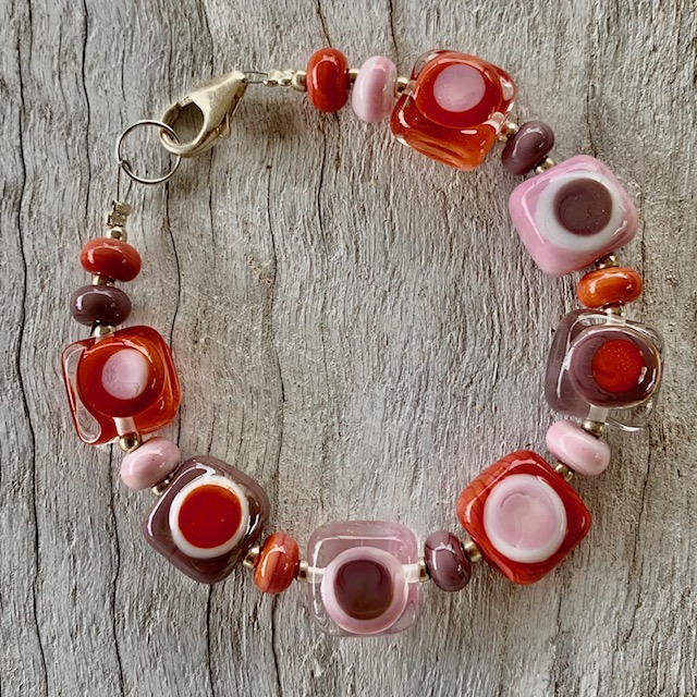pink purple coral glass bead bracelet
