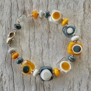 Mustard and grey glass bead bracelet