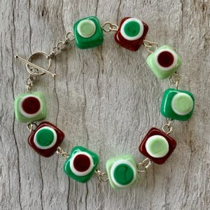 green and brown glass bead bracelet