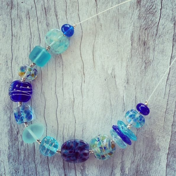 Mixed blue recycled glass bead necklace