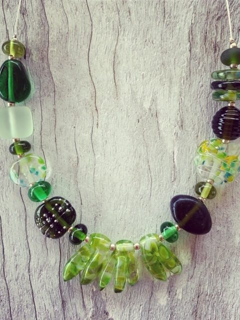 Mixed green recycled glass bead necklace