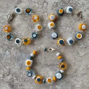 Mustard and Grey Glass Bracelets