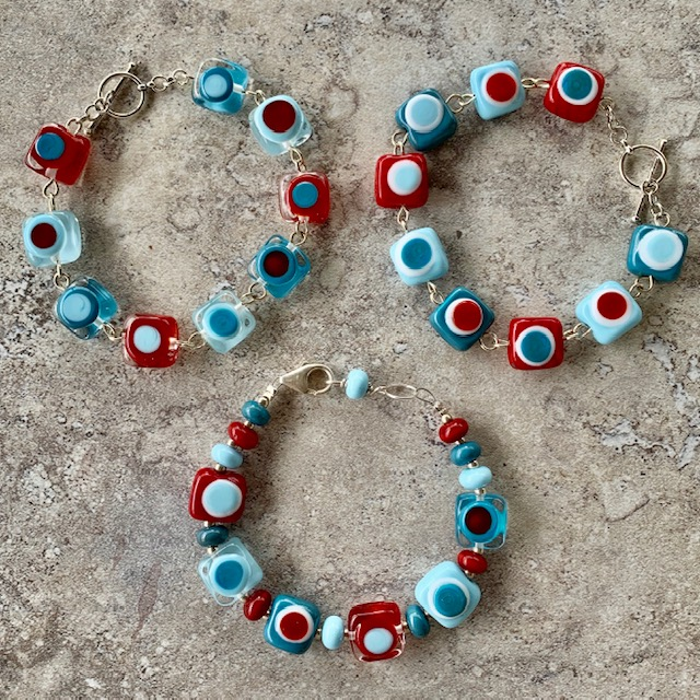 red and blue glass bead bracelets