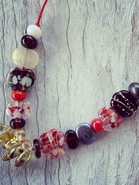 Red and brown recycled glass bead necklace