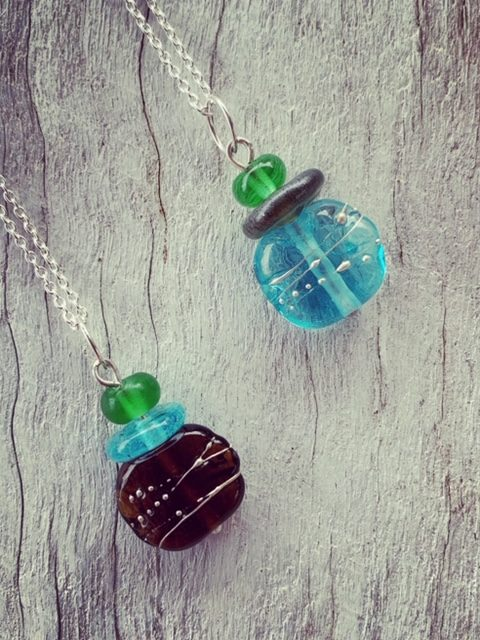Gin bottle pendants - recycled glass beads made from gin bottles