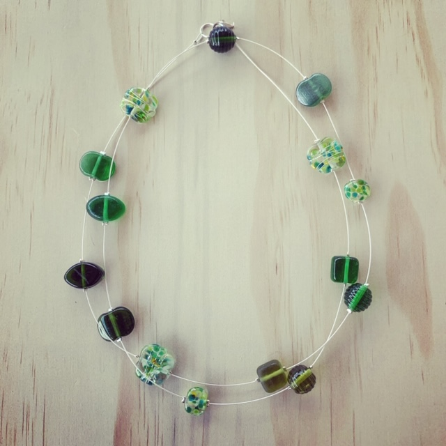 Long recycled glass necklace