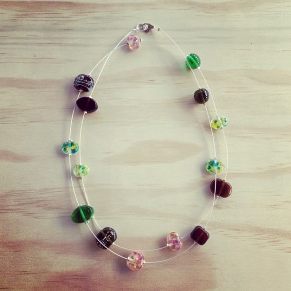 Pink, brown, green long recycled glass necklace