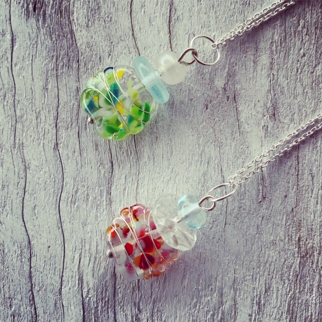 Recycled glass pendants, beads made from a wine bottle