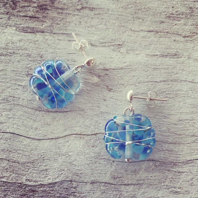 Blue stud recycled glass earrings - made from a Banrock Station wine bottle