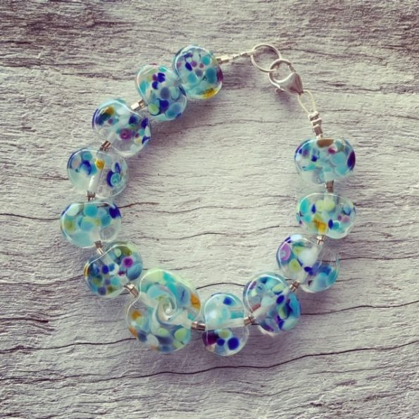 blue wave recycled glass bead bracelet