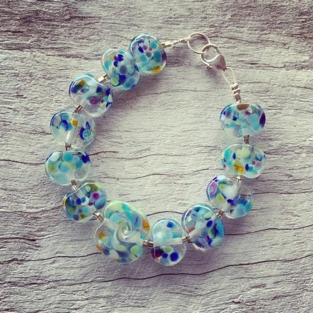 blue wave recycled glass bracelet