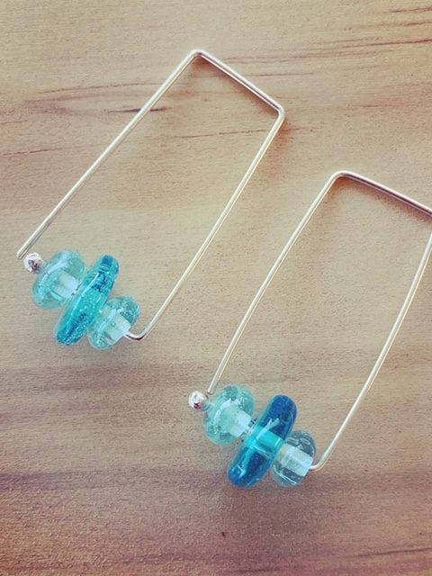 Long, rectangle Bombay Sapphire Gin recycled glass bead hoop earrings
