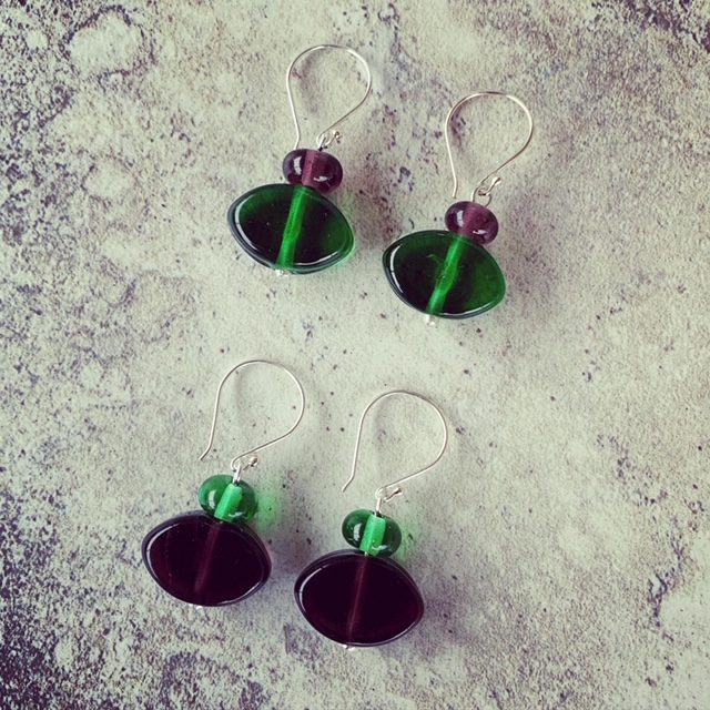 Green and Purple recycled glass earrings made from gin bottles