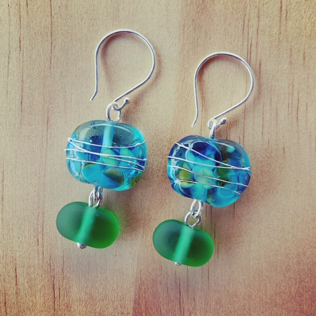 Bombay Sapphire and Tanqueray Gin recycled glass earrings