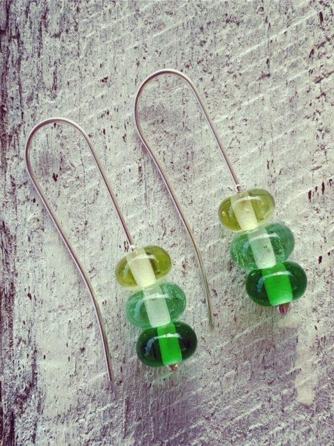 Long Green Glass Bead Earrings