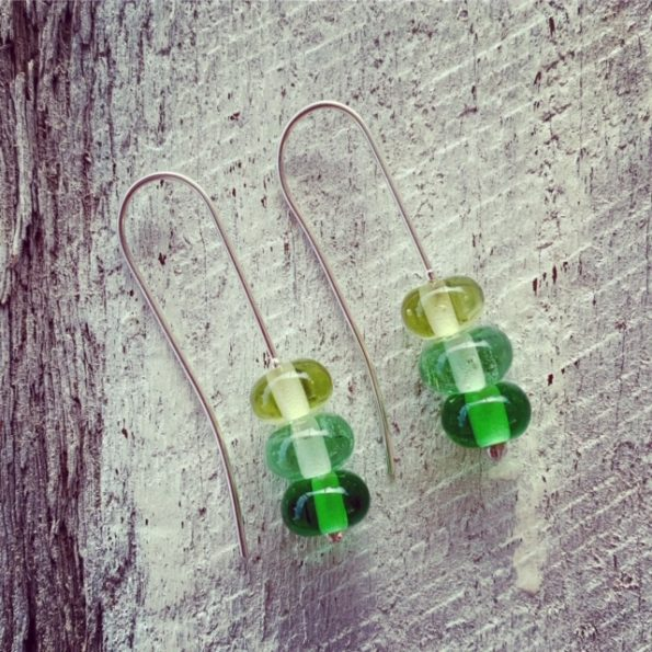Long Green Glass Bead Earrings