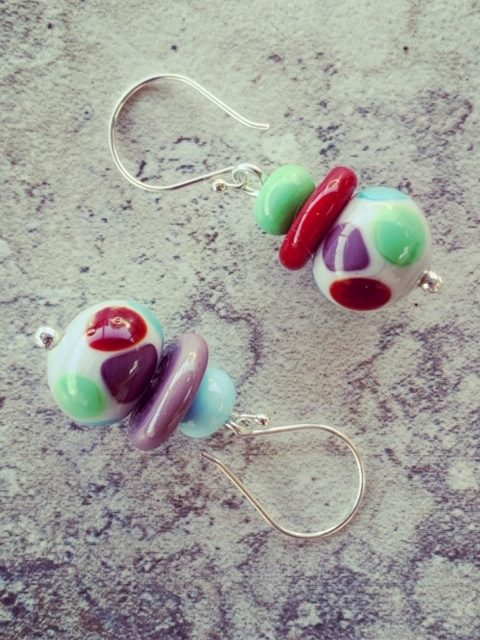 Same-same but different mismatched glass earrings