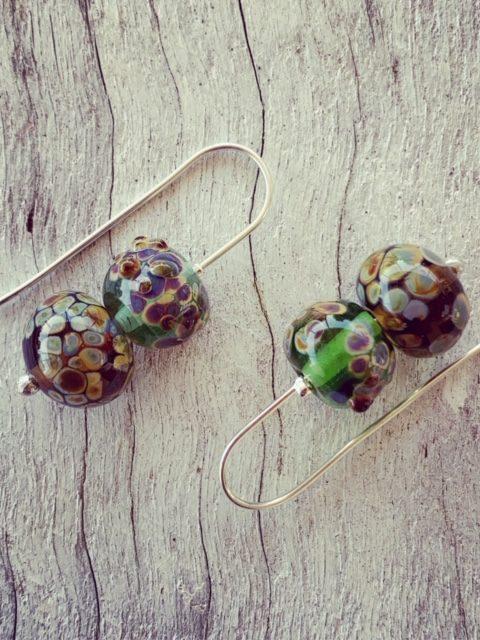 Organic glass bead earrings