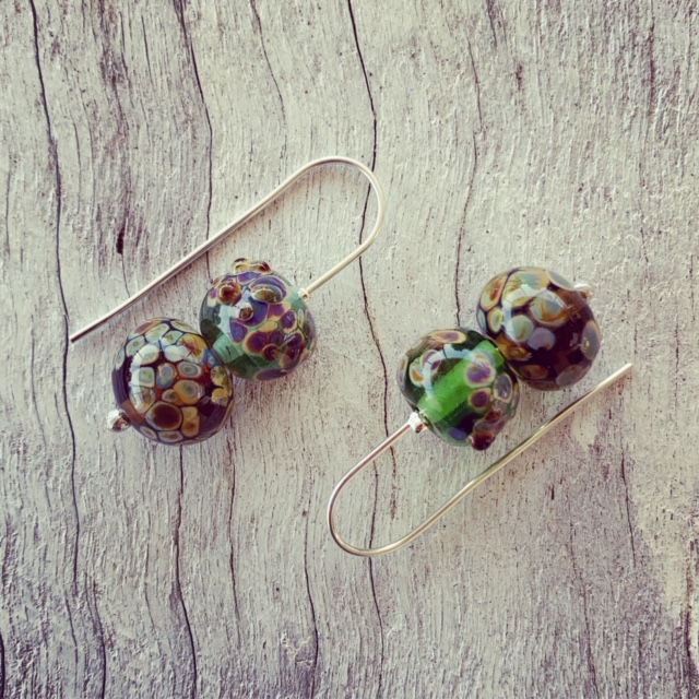 Organic glass bead earrings