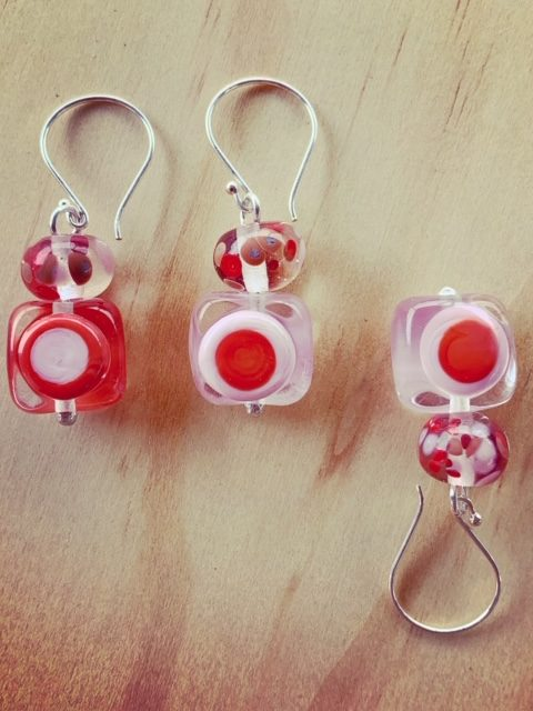 Pink/coral mismatch earrings