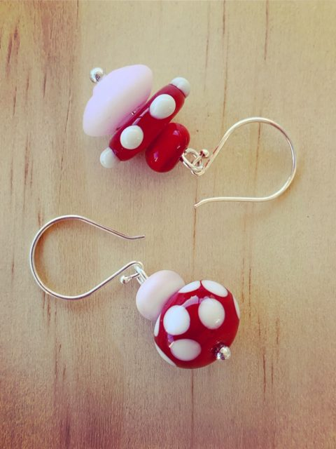 Red and Pink Mismatched Earrings