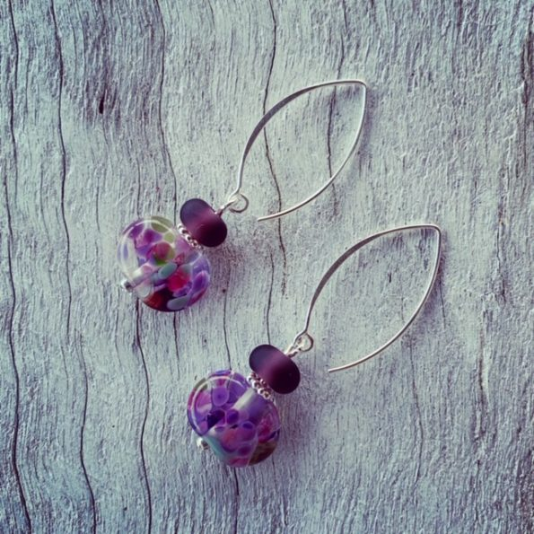 Stunning purple recycled glass earrings from gin and wine bottles