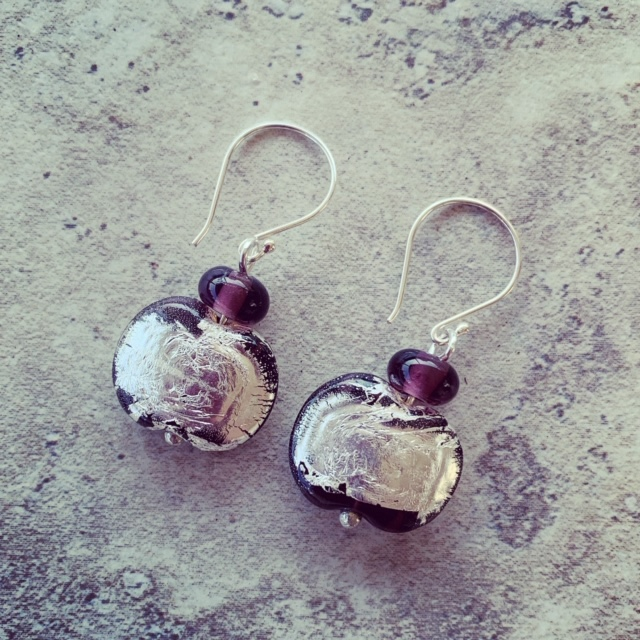 Hendricks Gin - Limited Release - sparkly silver purple earrings