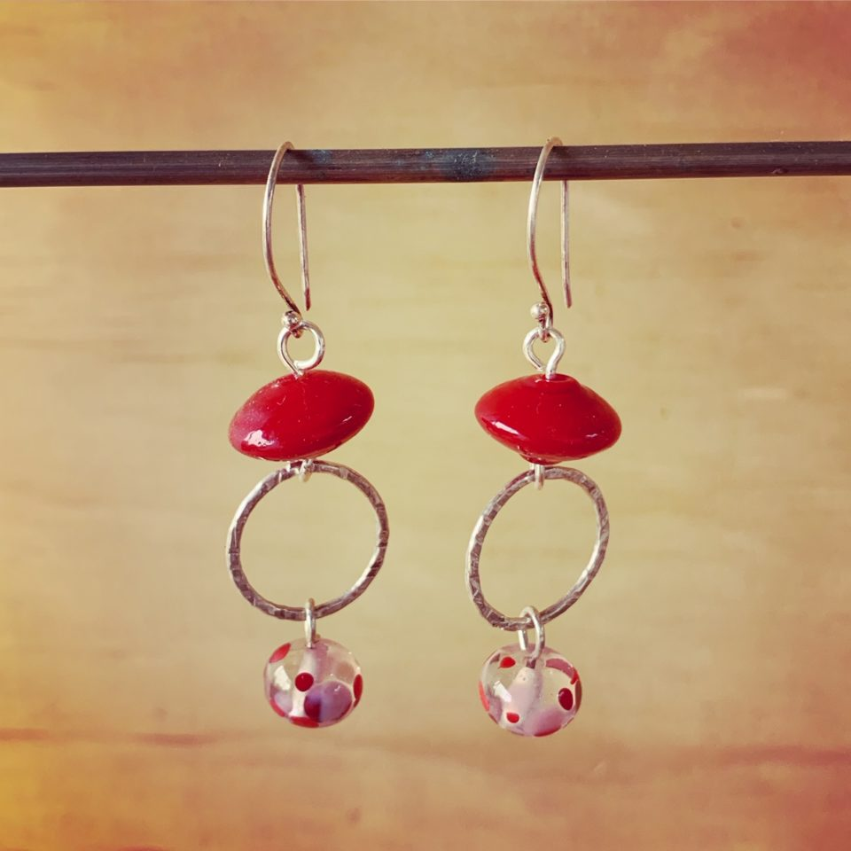 Red Italian and Recycled glass earrings