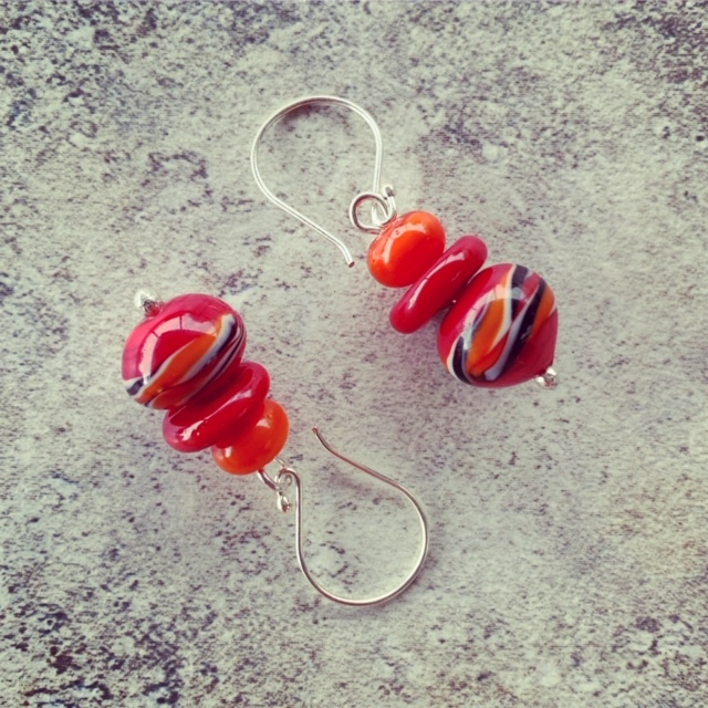 Red and Orange glass earrings