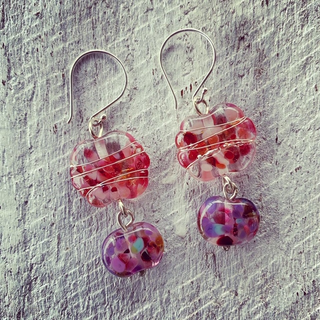 Stunning recycled glass earrings