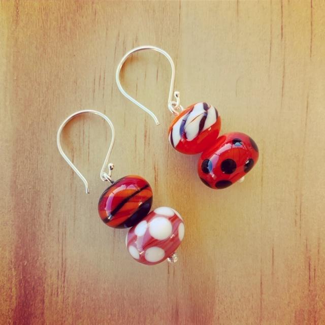 spotty stripey earrings
