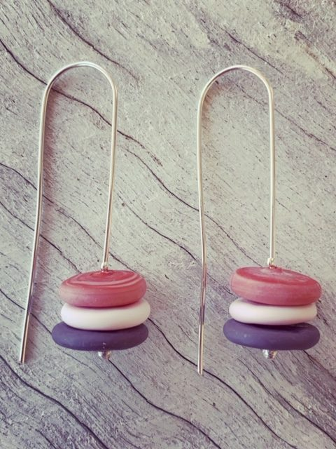 acid-etched glass earrings