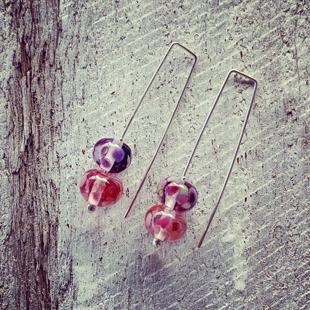 Pink and Purple recycled glass earrings (and some recycled glass necklaces)