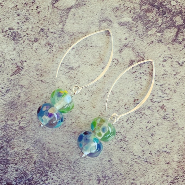 Blue and green recycled glass earrings from a wine bottle