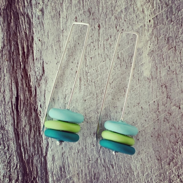 Blue and Green Etched Glass Earrings
